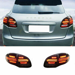 LED Taillights Assembly For Porsche Cayenne 11-14 Dark Replace OEM Rear lights