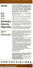 Safety Card - United - B777 - Overwater - 1998  (SC483)