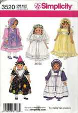 "Doll Clothing Pattern 18"" Dress Hat Bride Birthday Girl Pilgrim"