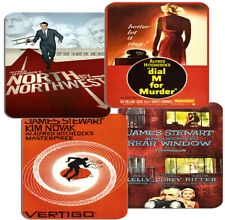 Alfred Hitchcock Movie Film Poster Coasters Set Of 4 Vertigo Rear Window Dial M