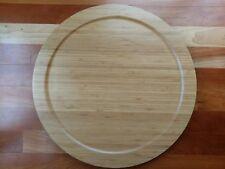 "Bamboo Wood 18"" Large Lazy Susan Spin Turn Table Rim Lip Edge Spice Rack"