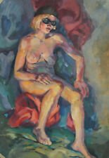 Vintage 39'' gouache painting nude