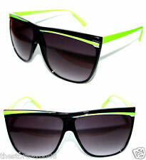 Flat Top Large Frame Flattop Nerd Sunglasses Black Neon Green Frame Men Women