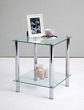 Chrome Square Contemporary Side & End Tables with Flat Pack