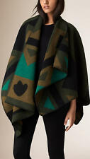 Burberry London Green Patchwork Wool And Cashmere Blend Cape