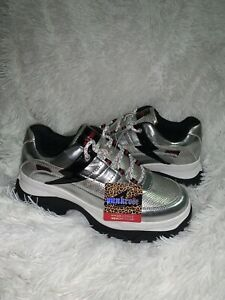 "PUNKROSE SKECHERS MASTER 2"" HIGH PLATFORM WOMEN SHOES SILVER STRIKE SIZE 8.5 NEW"
