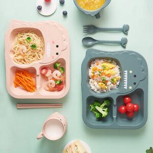 4PCS Baby Children Cartoon Tableware Set Plates + Fork+ Spoon + Chopsticks