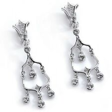 Designer Chandelier Earrings Clip on made with Swarovski Crystal Rhodium Plated
