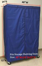 """Storage Shelving unit cover, fits racks 48""""Wx24""""Dx72""""H (Cover only Royal color)"""