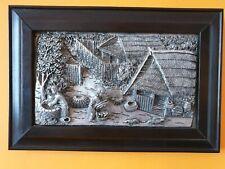 Framed Metal Repousse Panel - Farm / Village Scene - 1980s - Thai / Thailand ?