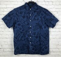 Ralph Lauren Men's Hawaiian Shirt Size XL Slim Fit Floral Blue Button Up Top