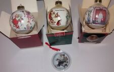 4 Hallmark Glass Ornaments Norman Rockwell 1990s Santa Gramps at the Reins