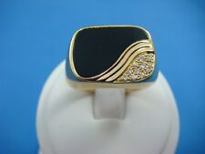 18K YELLOW SOLID GOLD MEN`S ONYX AND DIAMONDS HIGH END RING 10.1 GRAMS