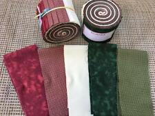 "20 Hand Rolled Jelly Roll- Xmas Cotton Fabric Strips (2.5"" x 42"") Pre-Cut Fabric"