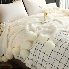 100*150cm Cream Pom Plush Throw Blanket Lounge Cover Knitted Luxurious Blanket
