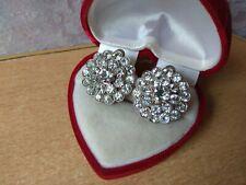 Gift Clips white stone Vintage Earrings Elegant old Retro