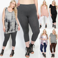TheMogan PlusSize Casual Basic Stretch Lightweight Cotton Cropped Leggings Capri