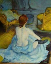portrait femme nue d'apres Lautrec huile sur toile / painting on canvas nude