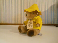 "Eden Vintage 1982 PADDINGTON BEAR plush stuffed yellow RAINCOAT & HAT 9"" tall"