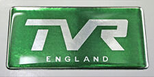 TVR England Gel Domed Green & Chrome Effect Self Adhesive Badge 77x37mm