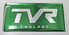 TVR Inglaterra semicirculares de Gel De Verde Y Cromo Efecto Auto Adhesivo Placa 77x37mm
