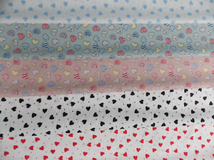 100% Cotton Poplin Fabric heart hearts squares candy size 12mm