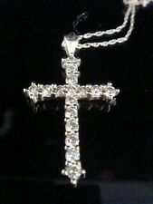 STUNNING 18CT YELLOW GOLD NATURAL FANCY CHAMPAGNE DIAMOND CROSS 1CT ON CHAN