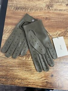 Brioni Gloves 100% Butter Soft Lamb LEATHER size 8 Taupe Driving RRP £430
