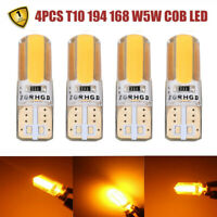 4PC T10 194 168 W5W COB LED Car Canbus Silica Width Yellow Light Bulb Amber Lamp
