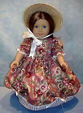 18 Inch Doll Clothes Cinnamon Floral Stripe Gown Poke Bonnet Hat by Jane Ellen