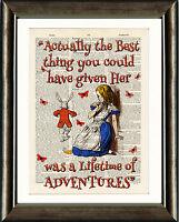 ANTIQUE BOOK PAGE NURSERY ART PRINT Alice in Wonderland Quote 1 Orange