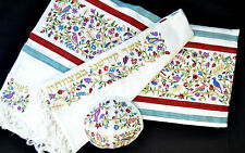 "Tallit+kippa+bag Embroidered 20X72"" Emanuel Matriarchs Colorful Wool Blend Silk"