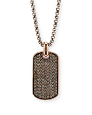 NEW MEN'S COGNAC DIAMOND STREAMLINE DOG TAG ROSE GOLD FINISH 925 SILVER
