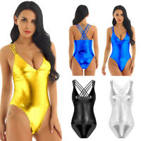 Women One-Piece Shiny Metallic Swimsuit High Cut Thong Leotard Swimwear Bodysuit