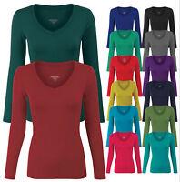 Women's Long Sleeve Basic Solid Plain V Neck T-shirt Top Tee S,M,L