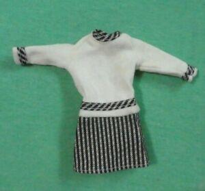Vintage Barbie Doll Clothes  -  MOD Era Barbie CLONE Black and White Dress