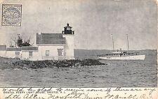 1905 Bristol Ferry Light House Boat Bristol RI post card