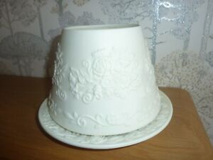 Lovely Yankee Candle Shade And Plate Cream Vintage Rose Size Medium VGC