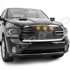 Big Horn 2+3x Amber LED Chrome Replacement Grille+Shell for 13-18 Dodge RAM 1500