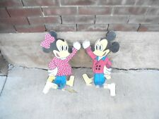 "2 wooden wind spinners mickey minnie mouse 16"" tall metal feet yard garden decor"
