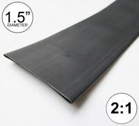 """1.5"""" ID Black Heat Shrink Tube 2:1 ratio (8 inches) polyolefin foot/ft/to 40mm"""