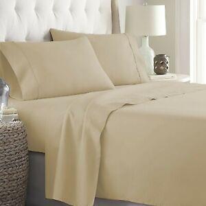 Egyptian Cotton Full Size Hotel 4 PCs Sheet Set 1000 TC Taupe Solid