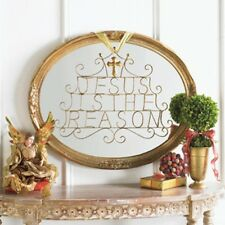 """IRON """"JESUS IS THE REASON"""" WALL HANGING PLAQUE 21-1/4"""" NEW Christmas DELUXE"""