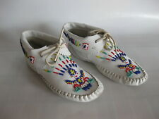 """Vintage Taos Moccasins """"Indian Maid"""" Leather Beaded White Pre Owned"""