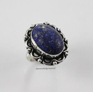 Handmade 925 Solid Sterling Silver Indian Jewelry Lapis Women Rings Fine Ring