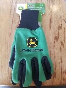 GARDENING WORK GLOVES Adult size L John Deere Light-Duty Cotton Grip NEW! Green