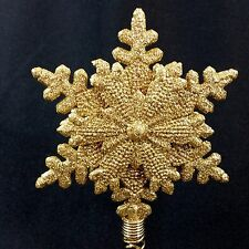 Snowflake Christmas Tree Topper Gold Glitter Metal Holiday Winter Snow