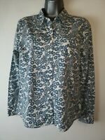 Laura Ashley Archive 12 cotton button up white green floral long sleeve Shirt