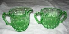 Vintage Depression Era Green Glass Sugar and Creamer