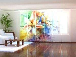 Foto-Schiebegardine bunte Blumen gemalt, Flächenvorhang mit Motiv, auf Maß